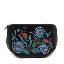 Velvet cosmetic bag 'Azulezhu'