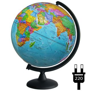 Political relief globe with a diameter of 300 mm with backlight