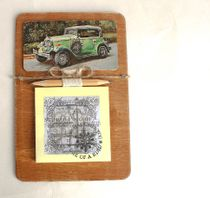 Handmade fridge magnet. Retro sports car with a block for notes.