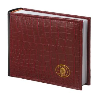 BRAUBERG photo album for 100 photos 10x15 cm, under the skin of a crocodile, the paper of the page of Bordeaux