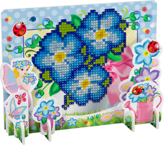 3D puzzle with diamond mosaic: Pansy