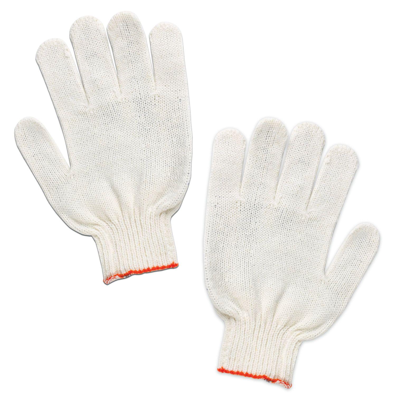 LIME / Cotton gloves STANDARD, SET 5 PAIRS, 7.5 grade, 36-38 g, 166 tex, PVC-free, WHITE