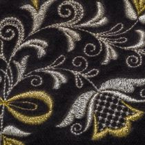 Velvet cosmetic bag 'Bouquet' in black with silver embroidery
