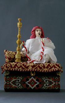 Doll gift. Arab, Smoking nargile. Box.