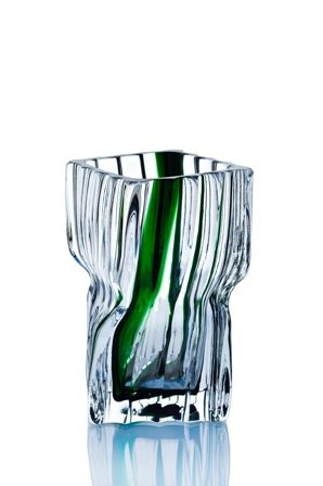 "Crystal decorative vase ""Architecton"" wide colorless with green"