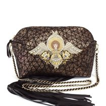 Leather bag 'angel' brown with gold embroidery