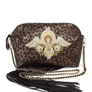 "Leather bag ""angel"" brown with gold embroidery"