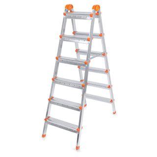LARUS / Stepladder steel double-sided 2x6 steps, upper platform 125 cm, up to 120 kg, weight 8.2 kg