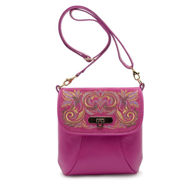 Leather bag 'Isabel' pink color with Golden embroidery