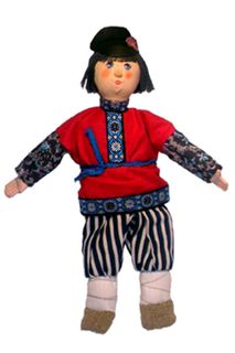 """Doll gift. """"The villagers,""""the boy"""