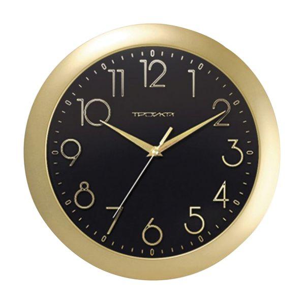Wall clock TROYKA 11171180, round, black, gold frame, 29х29х3,5 cm