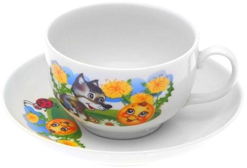 Dulevo porcelain / Tea cup and saucer set, 12 pcs., 210 ml Amber The Adventures of Kolobok