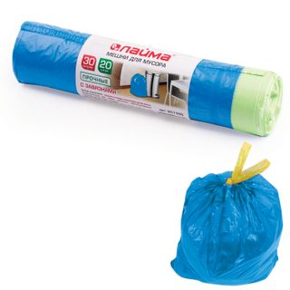 LIME / Garbage bags 30 L, ties, blue, 20 pcs per roll, HDPE, 12 microns, 50x60 cm (± 5%), durable