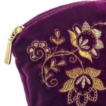 Velvet cosmetic bag 'Spring mood' purple with gold embroidery