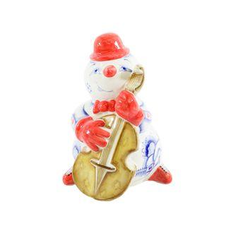 The sculpture Snowman with bass cobalt paint, Gzhel Porcelain factory