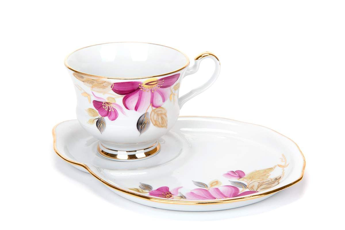 Dulevo porcelain / Gift set 2 pcs. Spring purple flower