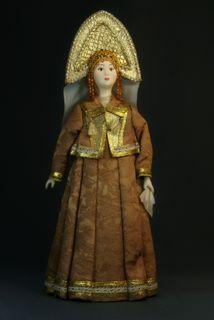 Doll gift. Women's festive costume. Kostroma lips. Russia