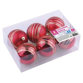 Golden fairy tale / Christmas tree balls with a pattern SET 6 pieces, plastic, 8 cm, red, 3 glossy, 3 matte