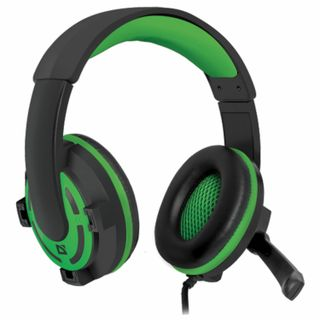 DEFENDER / Headphones with microphone (headset) Warhead G-300, wired, 2.5 m, with headband, black with green