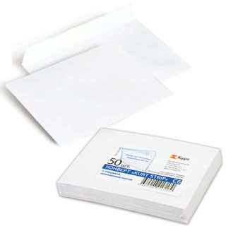 Envelopes C6 (114x162 mm), tear-off strip, white, SET of 50 PCs., inner sealing