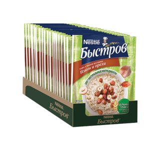 BYSTROV oat porridge, 5 cereals, with raisins and nuts, 680 g (17 pcs. 40 g each), cardboard show box
