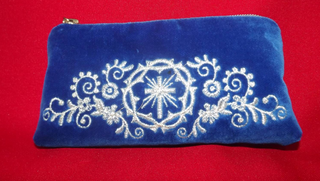 Velvet cosmetic bag with gold silver embroidery blue