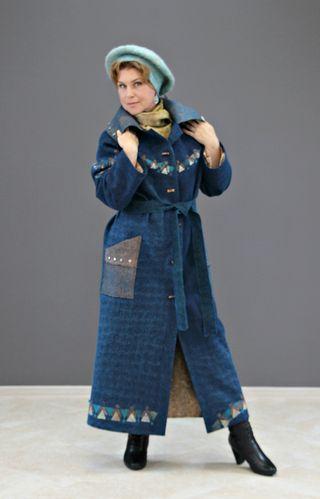"Felted demi-season coat ""Shimmer of blue"" merino wool"