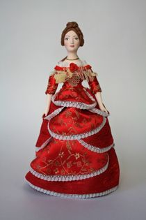 Doll gift porcelain. A lady in a ball gown. The mid-19th century, Petersburg.