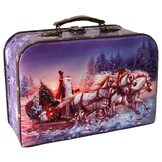 """New Year's gift Suitcase """"Russian Troika"""", a set of sweets 1200g."""