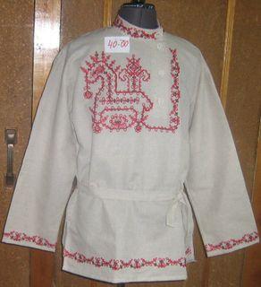 """The men's linen shirt """"Horse"""" Karelian patterns"""