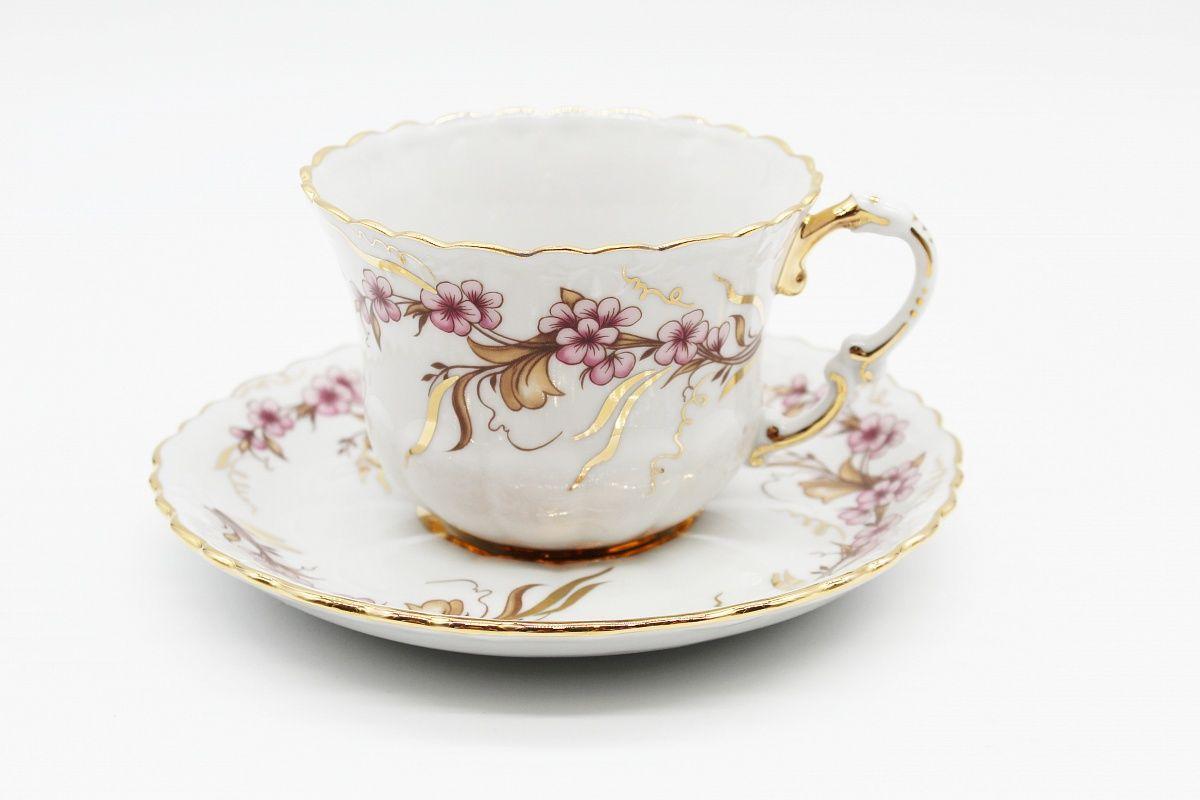 Dulevo porcelain / Tea cup and saucer set, 12 pcs., 400 ml Lace Festive