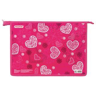 Folder for notebooks PYTHAGORAS A4, cardboard, zipper top, Hearts
