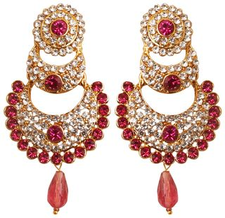 Touchstone Indian Bollywood White Crystals And Pink Fuchsia Chand Bali Moon Designer Jewelry Chandelier Earrings For Women In Antique Gold Tone.