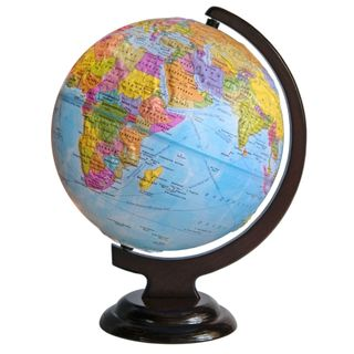 Political relief globe with a diameter of 250 mm on wooden stand
