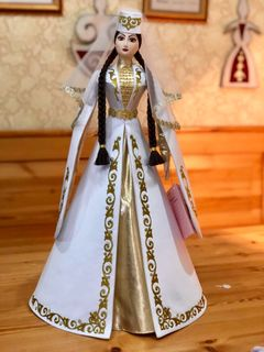 Doll Ossetian in a satin white suit, Asik, 55 cm
