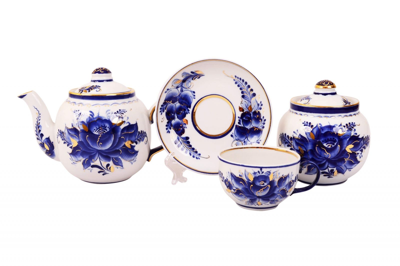 Dulevo porcelain / Tea set 14 pcs. Amber Rose Gold