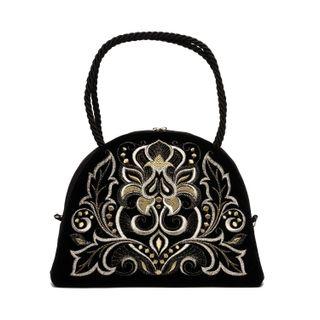 Velvet Victoria bag black with short handles