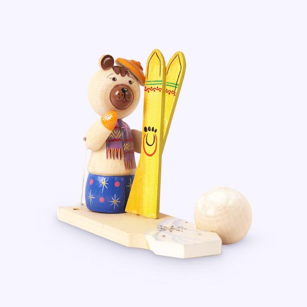 Bogorodskaya toy / Wooden souvenir 'Bear with skis'