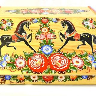 Painted wooden bread bins. Gorodets painting