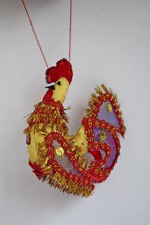 Cockerel, Christmas tree toy, textiles.