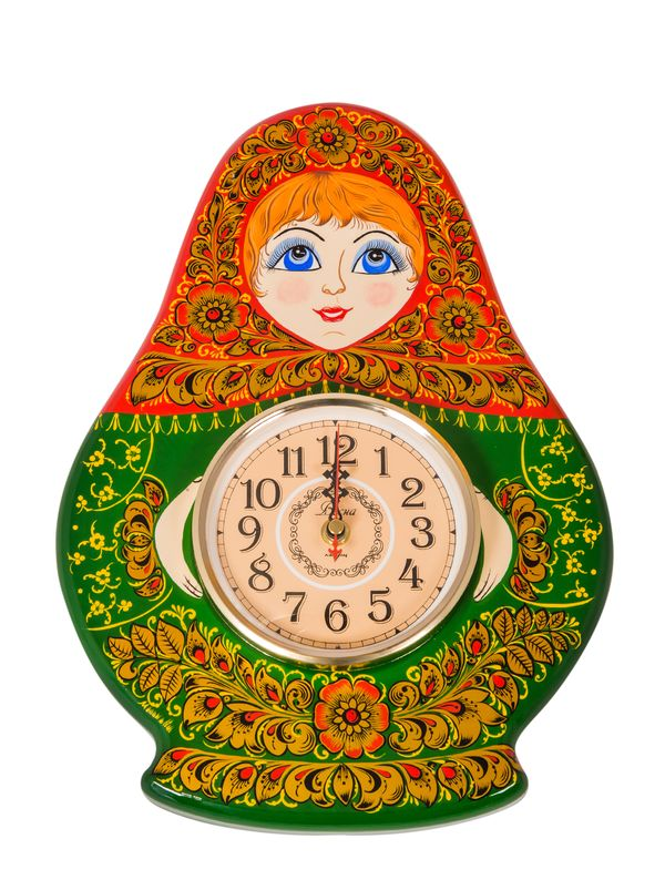 Carved panel with a clock 'Matryoshka'
