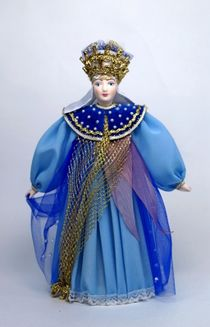 Doll gift porcelain. The Queen of the night. Fairy tale character.