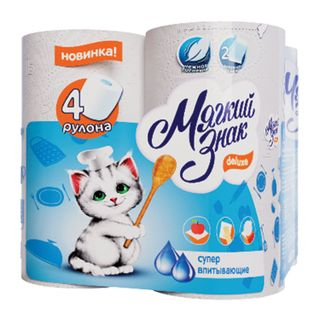SOFT SIGN / Deluxe white household paper towels, soldering 4 pcs., 2-layer (4x10 m)