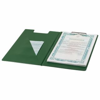 Folder tablet BRAUBERG, A4 (340х240 mm), with holder and lid, cardboard/PVC, RUSSIA, green