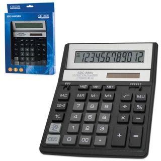Desktop calculator CITIZEN SDC-888ХBK (203х158 mm), 12 digits, dual power supply, BLACK