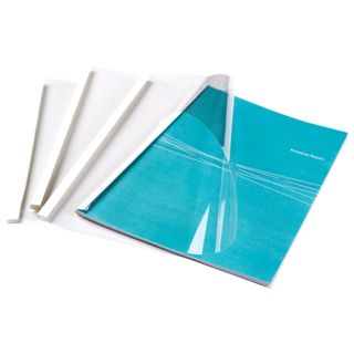 Thermal binding covers, A4, SET 100 pcs., 4 mm, 33-43 sh., Top transparent PVC, bottom cardboard, FELLOWES