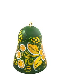 "Khokhloma painting / Christmas tree toy ""Bell"" 60x45 mm"
