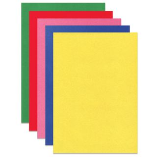 Cardboard A4 colored VELVET, 5 sheets 5 colors, 180 g/m2, INLANDIA,