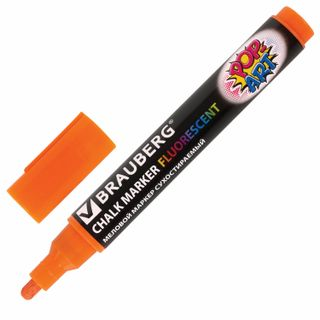 "Marker chalk BRAUBERG ""POP-ART"", dry-erase, for smooth surfaces, 5 mm, ORANGE"