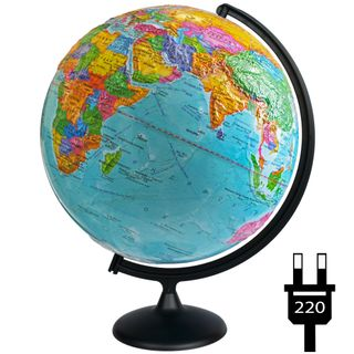 Political relief globe with a diameter of 420 mm with backlight
